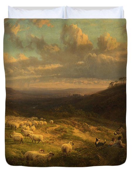 The Closing Day, Scene In Sussex Duvet Cover by George Vicat Cole