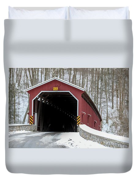 The Colemansville Covered Bridge In Winter Duvet Cover