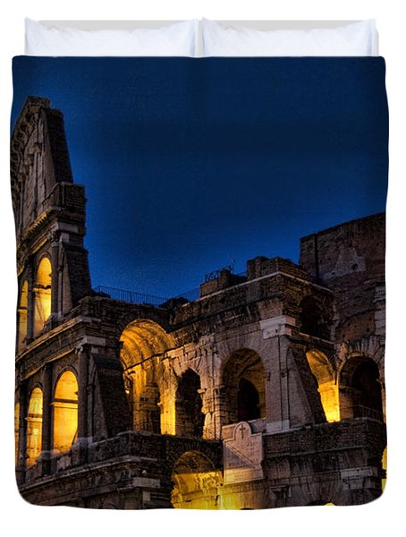 The Coleseum In Rome At Night Duvet Cover