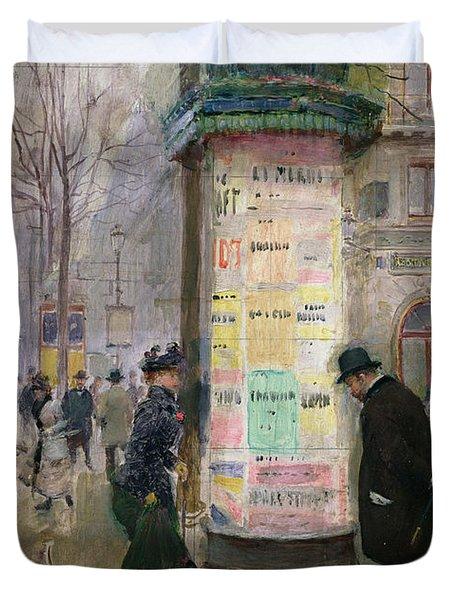 The Colonne Morris Duvet Cover by Jean Beraud