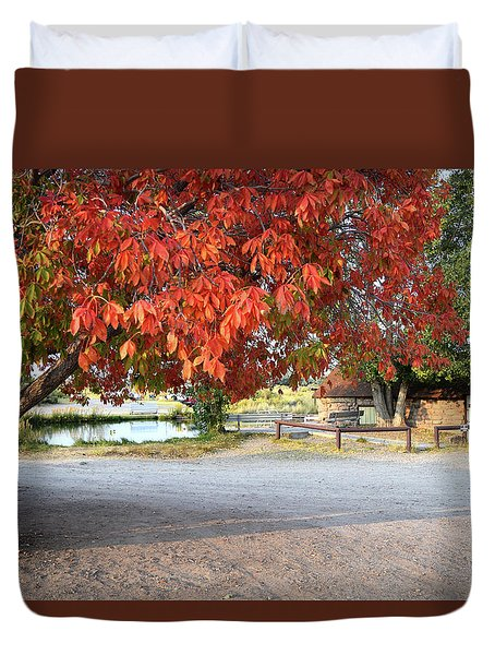 Duvet Cover featuring the photograph The Color Red by Anne Mott
