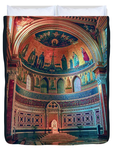 The Colorful Interior Of Roman Catholic Cathedral Duvet Cover