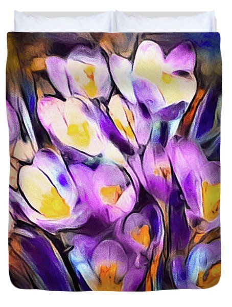 The Colors Of Crocus Duvet Cover