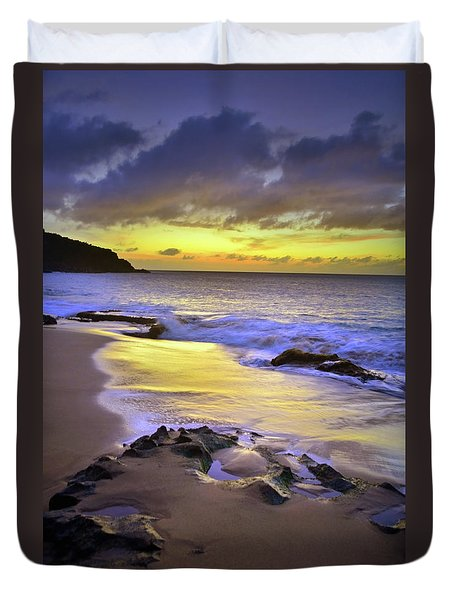 Duvet Cover featuring the photograph The Colour Of Molokai Nights by Tara Turner