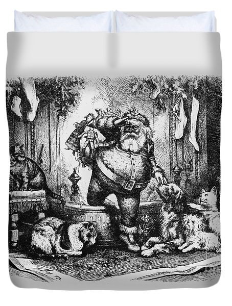 The Coming Of Santa Claus Duvet Cover