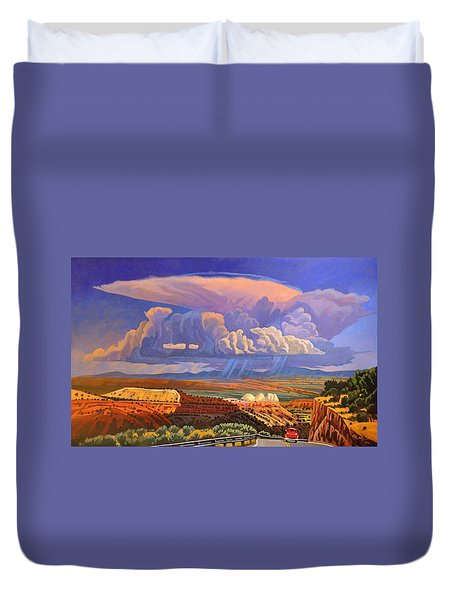 Duvet Cover featuring the painting The Commute by Art West