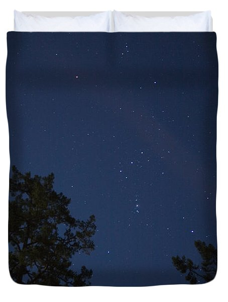 The Constellation Orion At Night Duvet Cover