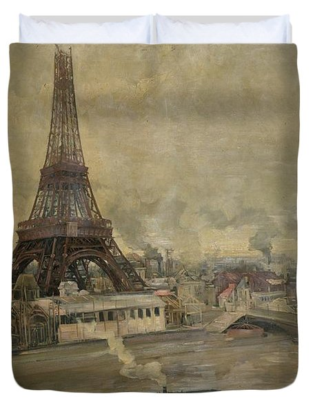 The Construction Of The Eiffel Tower Duvet Cover by Paul Louis Delance