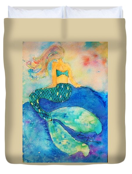 The Contemplation Of A Mermaid Duvet Cover