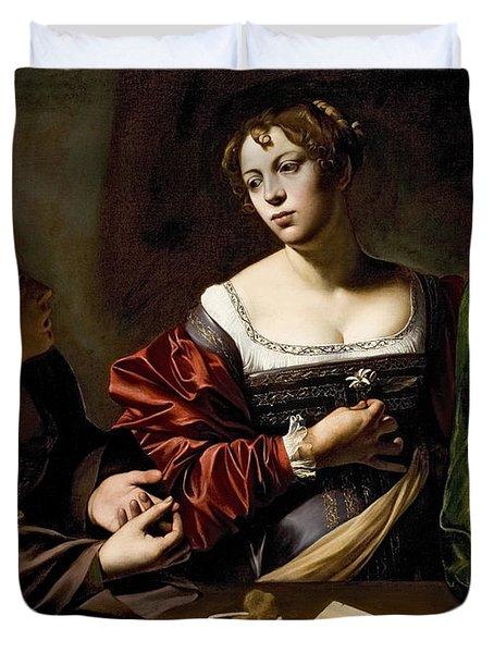 The Conversion Of The Magdalene Duvet Cover by Michelangelo Merisi da Caravaggio
