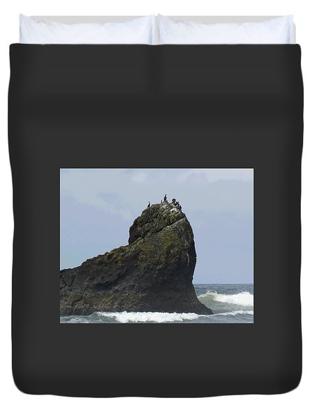 The Cormorants And The Sea Sphinx Duvet Cover by I'ina Van Lawick