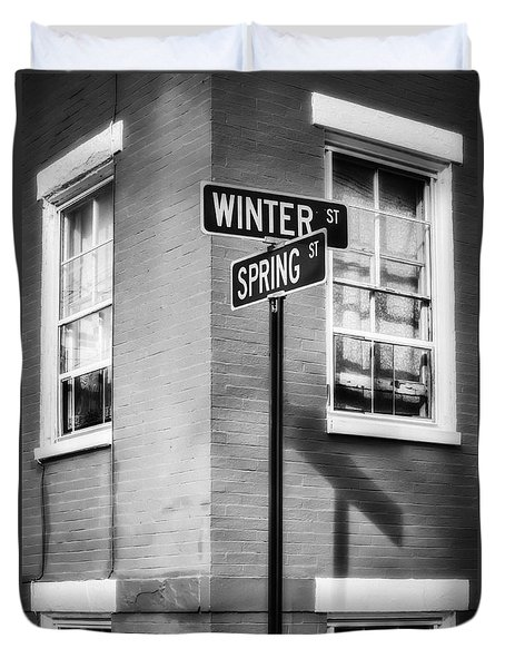 The Corner Of Winter And Spring Bw Duvet Cover