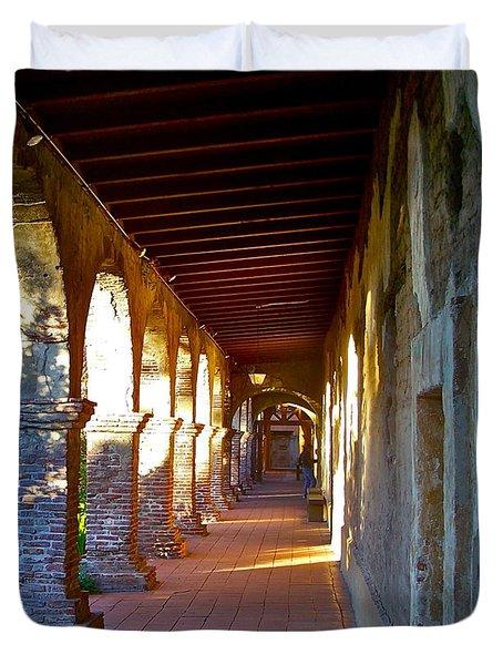 The Corridor By The Serra Chapel San Juan Capistrano Mission California Duvet Cover