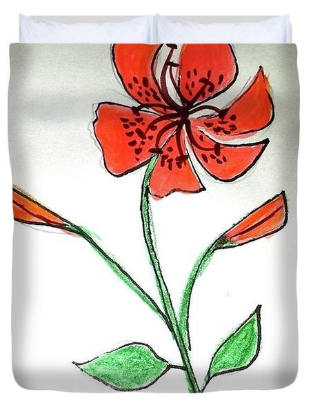 Duvet Cover featuring the painting The Courage Of Tiger Lily by Margaret Welsh Willowsilk