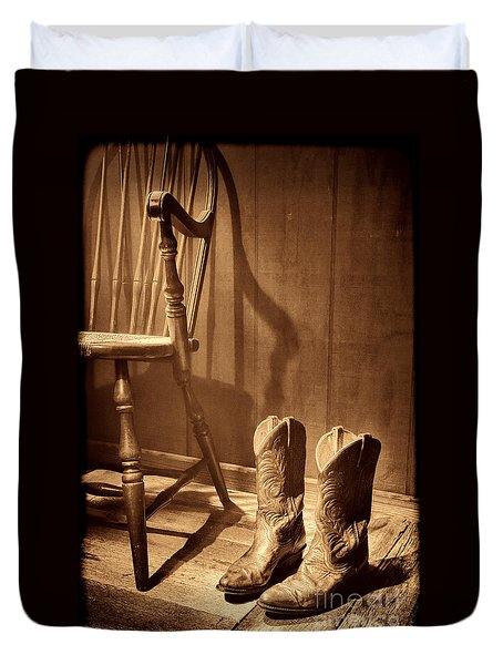 The Cowgirl Boots And The Old Chair Duvet Cover by American West Legend By Olivier Le Queinec