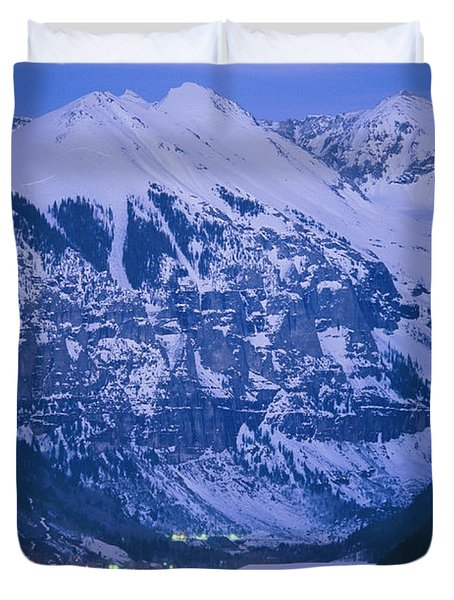 The Cozy Lighted Village Of Telluride Duvet Cover