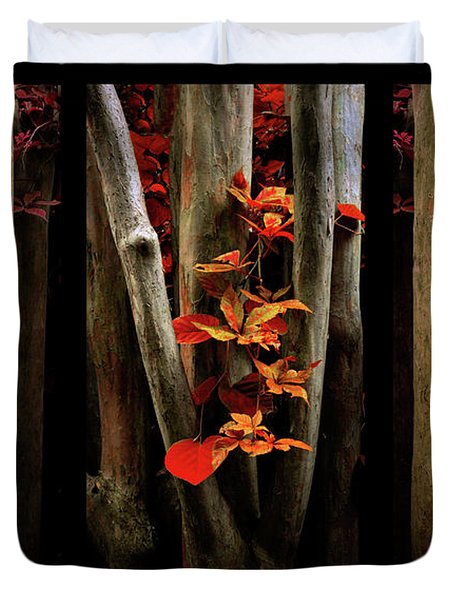 Duvet Cover featuring the photograph The Crimson Forest by Jessica Jenney