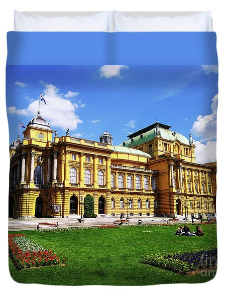 The Croatian National Theater In Zagreb, Croatia Duvet Cover