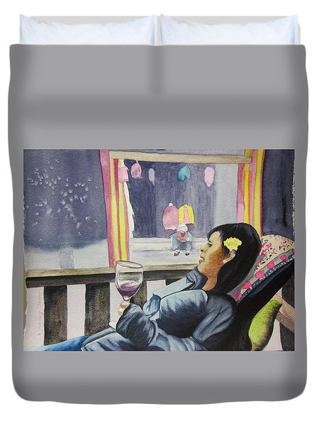 Duvet Cover featuring the painting The Crones Blessing by Teresa Beyer