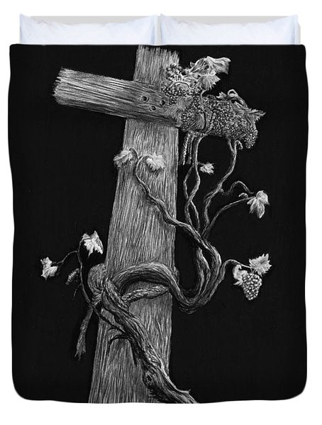 The Cross And The Vine Duvet Cover by Jyvonne Inman