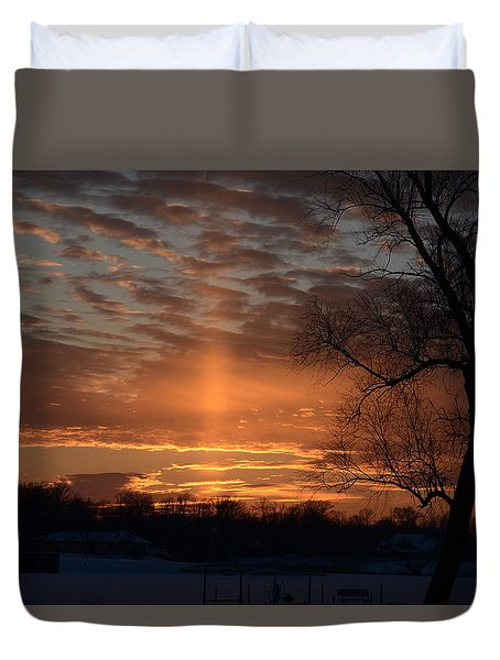 The Cross In The Sunset Duvet Cover