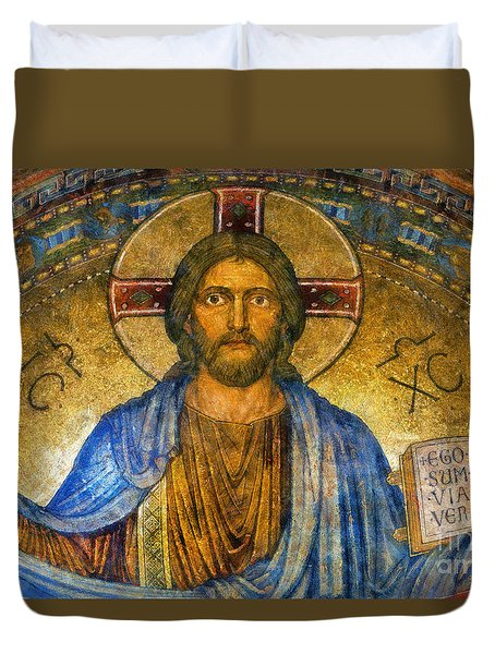 Duvet Cover featuring the digital art The Cross Of Christ by Ian Mitchell