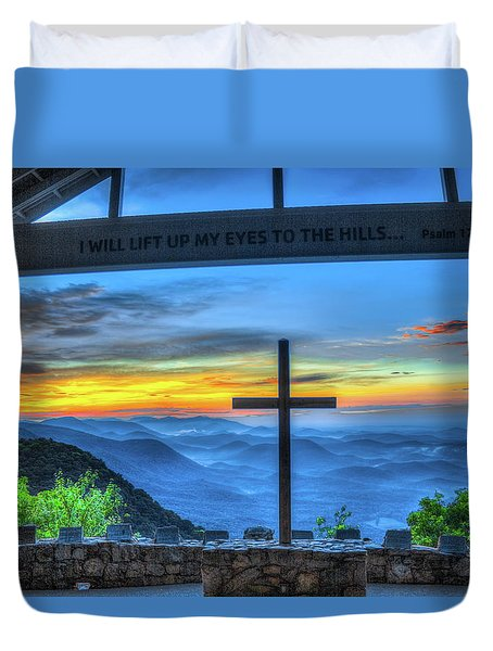 The Cross Sunrise At Pretty Place Chapel Duvet Cover by Reid Callaway
