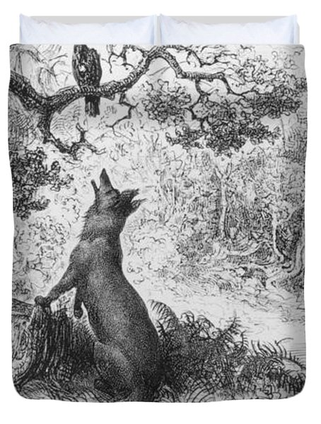 The Crow And The Fox Duvet Cover by Gustave Dore