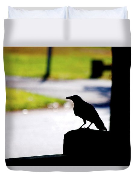 Duvet Cover featuring the photograph The Crow Awaits by Karol Livote