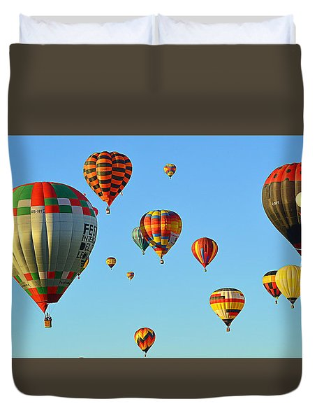 Duvet Cover featuring the photograph The Crowded Skies by AJ Schibig