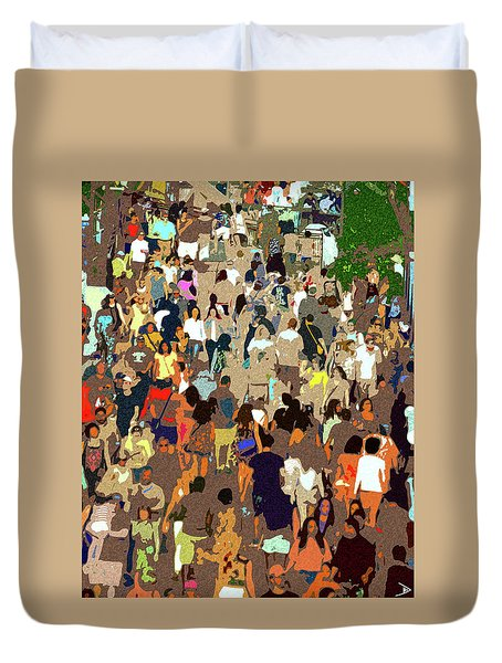 Duvet Cover featuring the painting The Crowd by David Lee Thompson
