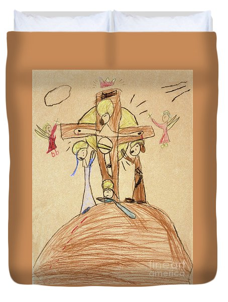 Duvet Cover featuring the drawing The Crucifixion By Fr. Bill At Age 5 by William Hart McNichols
