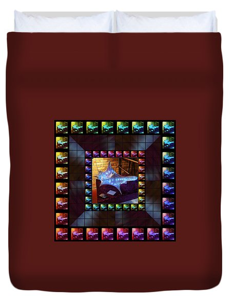 Duvet Cover featuring the sculpture The Crystal Shell - Illuminated by Shawn Dall