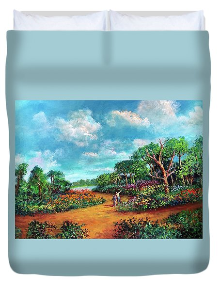 Duvet Cover featuring the painting The Cycle Of Life by Randol Burns