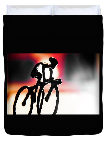Duvet Cover featuring the photograph The Cycling Profile  by David Sutton