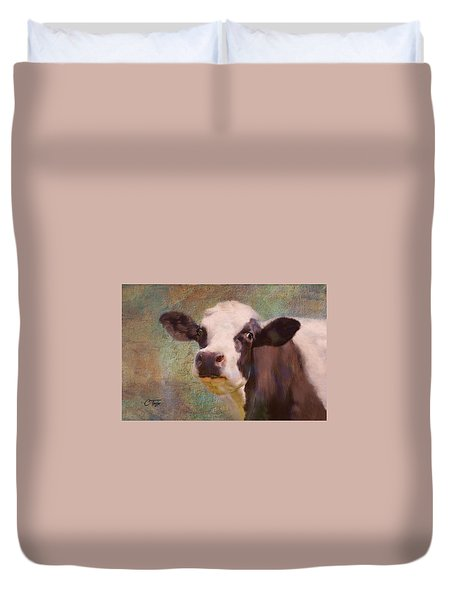 Duvet Cover featuring the mixed media The Dairy Queen by Colleen Taylor