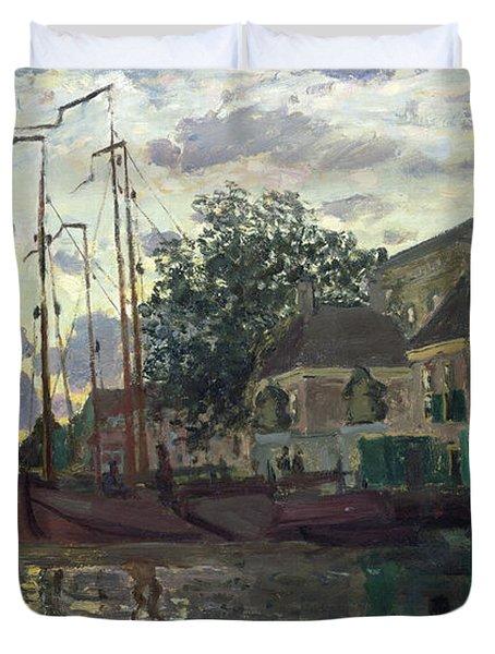 The Dam At Zaandam Duvet Cover by Claude Monet