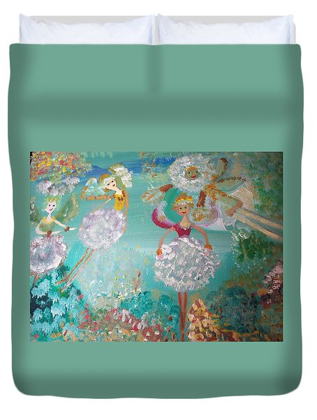 Duvet Cover featuring the painting The Dandelion Fairies by Judith Desrosiers