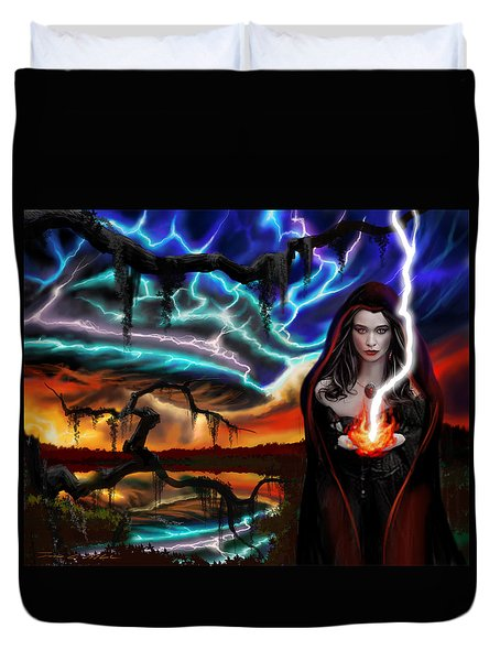 Duvet Cover featuring the painting The Dark Caster Calls The Storm by James Christopher Hill