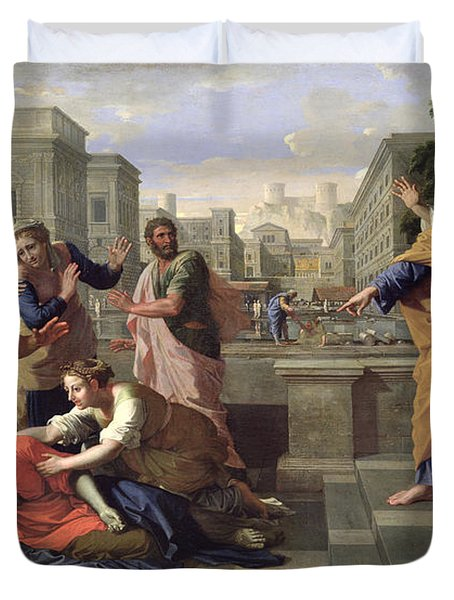 The Death Of Sapphira Duvet Cover by Nicolas Poussin