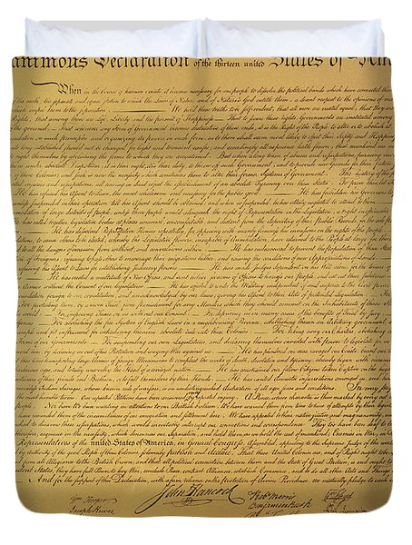 The Declaration Of Independence Duvet Cover by Founding Fathers