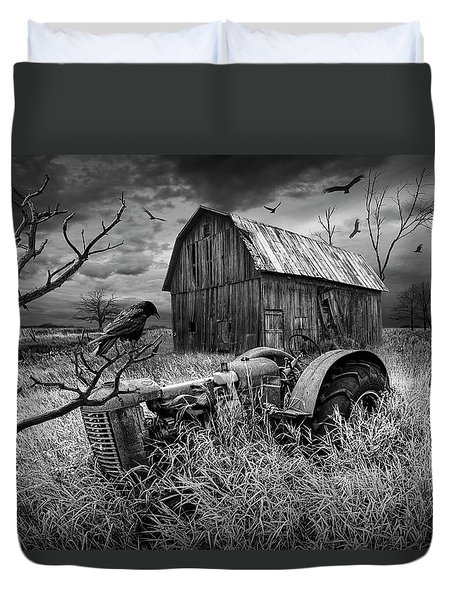 Duvet Cover featuring the photograph The Decline And Death Of The Small Farm In Black And White by Randall Nyhof