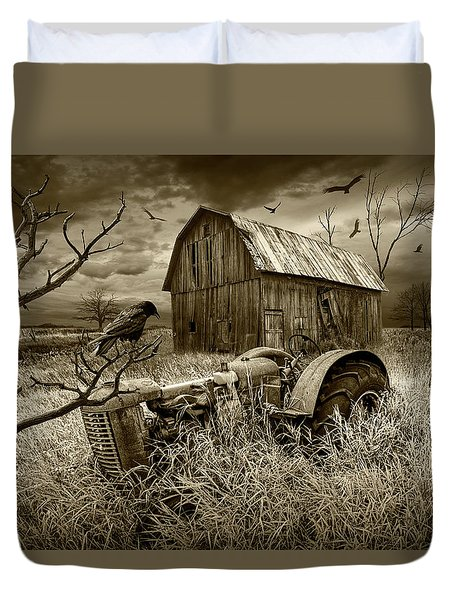 Duvet Cover featuring the photograph The Decline And Death Of The Small Farm In Sepia Tone by Randall Nyhof
