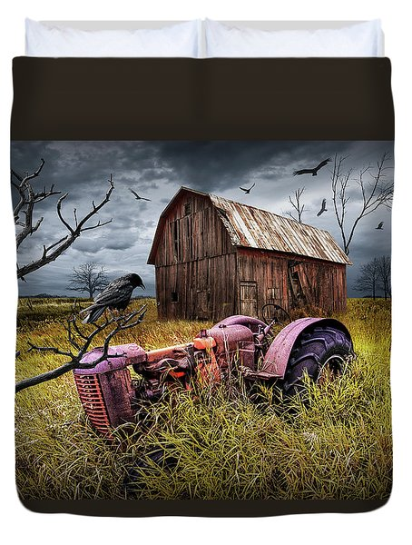 Duvet Cover featuring the photograph The Decline And Death Of The Small Farm by Randall Nyhof