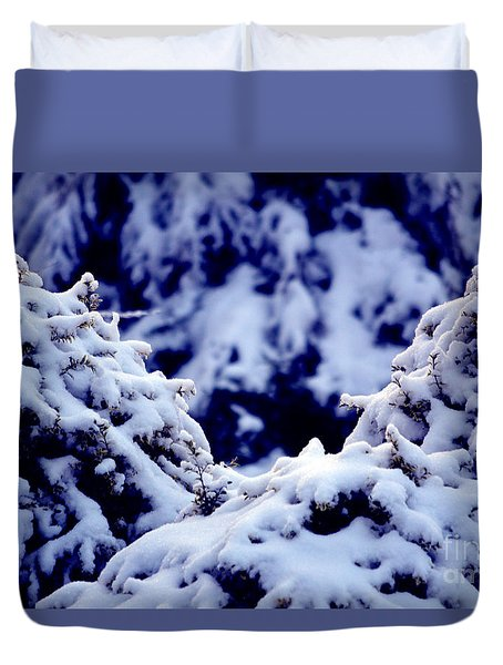 Duvet Cover featuring the photograph The Deep Blue - Winter Wonderland In Switzerland by Susanne Van Hulst