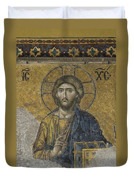 The Dees Mosaic In Hagia Sophia Duvet Cover by Ayhan Altun