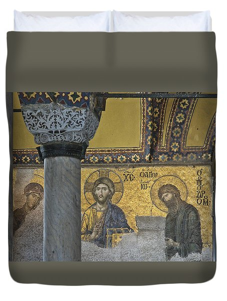 The Deesis Mosaic With Christ As Ruler At Hagia Sophia Duvet Cover by Ayhan Altun
