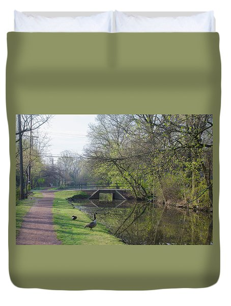 The Delaware Canal - Morrisville Pennsylvania Duvet Cover by Bill Cannon