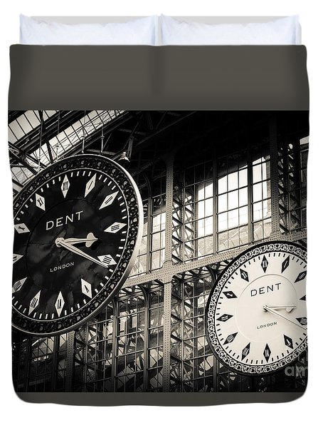 The Dent Clock And Replica At St Pancras Railway Station Duvet Cover