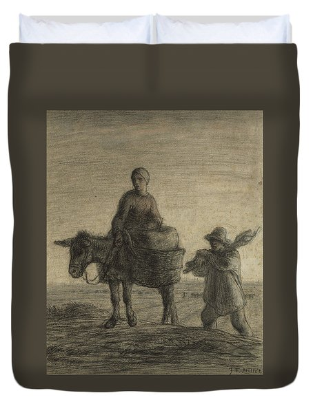 The Departure For Work Duvet Cover by Jean-Francois Millet